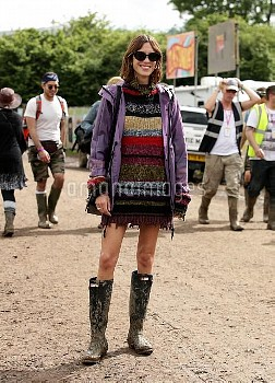 Alexa Chung is seen backstage at the Glastonbury Festival, at Worthy Farm in Somerset.