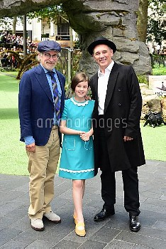 Steven Spielberg, Ruby Barnhill and Mark Rylance attending the UK Premiere of The BFG at Leicester S