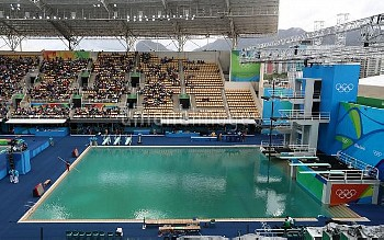 A general view of the diving pool at the Maria Lenk Aquatics Centre on the seventh day of the Rio Ol