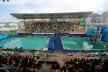 A general view of the diving pool (right) and the water polo pool (left) at the Maria Lenk Aquatics