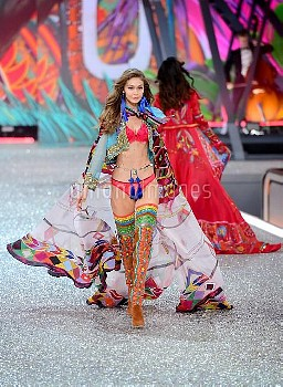 Gigi Hadid during the Victoria's Secret fashion show, held at The Grand Palais in Paris, France.