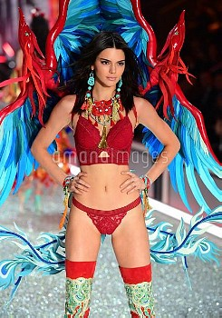 Kendall Jenner during the Victoria's Secret fashion show, held at The Grand Palais in Paris, France.