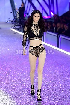 Sui He during the Victoria's Secret fashion show, held at The Grand Palais in Paris, France.