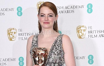 Emma Stone with the award for Best Actress in the press room during the EE British Academy Film Awar