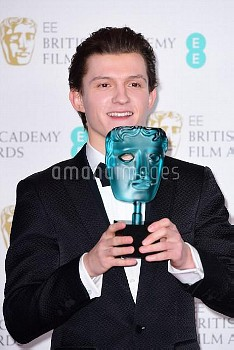EE Rising Star winner actor Tom Holland in the press room during the EE British Academy Film Awards