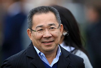 Leicester City chairman and member of King Power Racing Co Ltd Khun Vichai Srivaddhanaprabha after t
