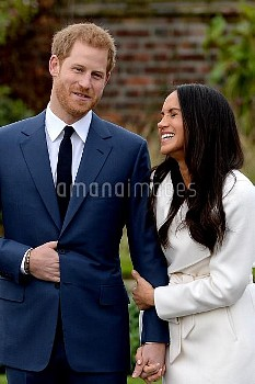 Prince Harry and Meghan Markle at a photocall to announce their engagement at Kensington Palace, Lon