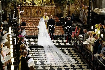 Prince Harry and Meghan Markle in St George's Chapel at Windsor Castle during their wedding service,