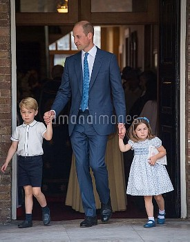 The Duke of Cambridge with Prince George and Princess Charlotte after Prince Louis's christening at