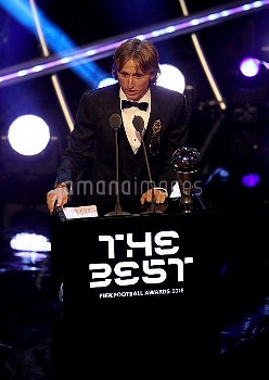 Luka Modric on stage after winning The Best FIFA Men's Player Award during the Best FIFA Football Aw