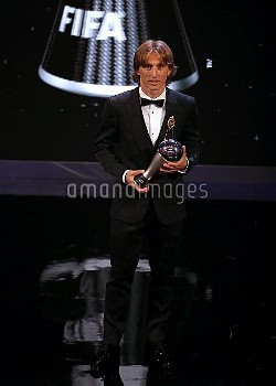 Luka Modric poses with his Best FIFA Men's Player Award during the Best FIFA Football Awards 2018 at