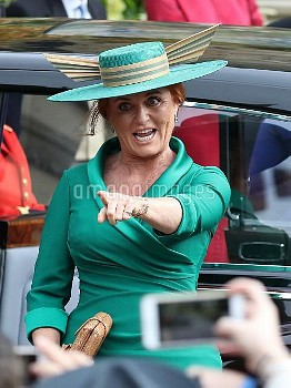 Sarah Ferguson arrives for the wedding of Princess Eugenie to Jack Brooksbank at St George's Chapel