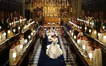 Princess Eugenie and Jack Brooksbank walks down the aisle of the Quire after they were married at St