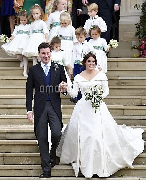 Princess Eugenie and Jack Brooksbank as they leave after their wedding at St George's Chapel in Wind