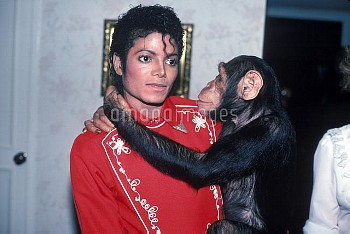 December 7, 1984, California, USA: Michael Jackson and Bubbles the chimp at Dodger Stadium in 1984.