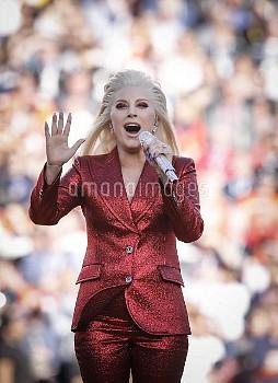 February 7, 2016 - Santa Clara, California, United States: Lady Gaga sings the National Anthem durin