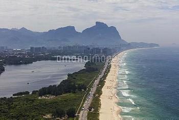 February 20, 2016 - Rio de Janeiro, Brazil: Overview of the Barra beach close to the Barra Olympic P