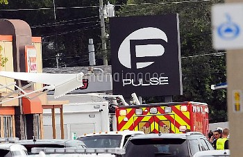 June 12, 2016 - Orlando, Florida, United States - An ambulance is seen outside the Pulse nightclub i