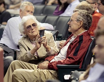 George H.W. Bush, 85, the 41st President of the United States attended the Houston Astros Opening Da