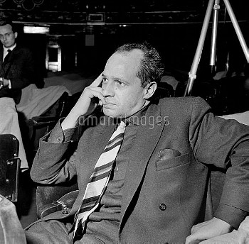 """Pierre Boulez, French composer, during a rehearsal of Paul Claudel's """" golden head """". Paris, theater"""