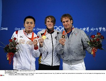 Gold medalist Benjamin Philip Kleibrink of Germany (C), bronze medalist Salvatore Sanzo of Italy (R)