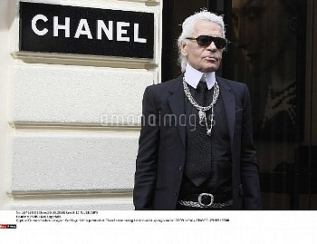 German Fashion designer Karl Lagerfeld is pictured at Chanel store during fashion week spring-summer