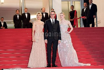 Liv Corixen, director Nicolas Winding Refn and actress Elle Fanning attend the 'Neon Demon' premiere