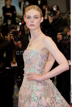 Actress Elle Fanning attends the 'Neon Demon' premiere during the 69th annual Cannes Film Festival a