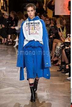 Model wears a creation by vetements  fashion house, as part of the Haute Couture Paris Winter 2016-2