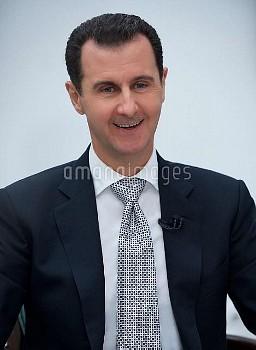 シリアのバッシャール・アル・アサド大統領 Syrian President Bashar al-Assad gave an interview to the Japanese TBS TV chann