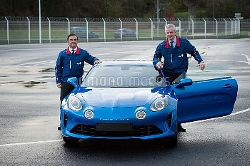 Renault-Nissan Chairman and CEO Carlos Ghosn (L) and French Economy Minister Bruno Le Maire pose nea