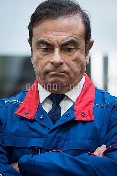 Renault-Nissan chairman and CEO Carlos Ghosn   during the inauguration ceremony of the A110, the new