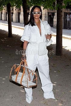 Rihanna attends the Louis Vuitton Menswear Spring/Summer 2019 show as part of Paris Fashion Week Wee