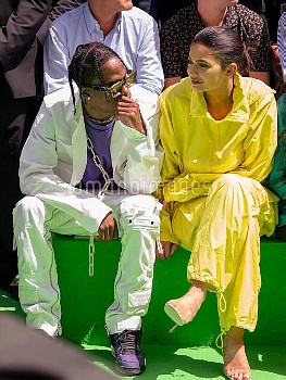 Travis Scott and Kylie Jenner attend the Louis Vuitton Menswear Spring/Summer 2019 show as part of P