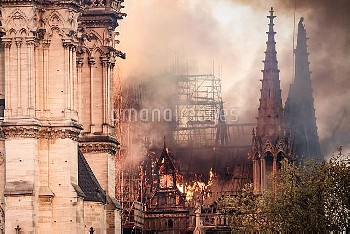 Cathedral of Notre-Dame on fire. Paris, FRANCE-15/04/2019//04MEIGNEUX_meigneuxA010/1904152252/Credit