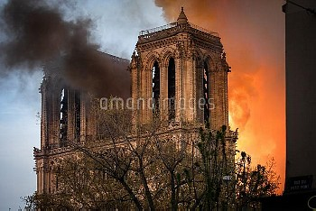 Cathedral of Notre-Dame on fire. Paris, FRANCE-15/04/2019//04MEIGNEUX_meigneuxA015/1904152253/Credit