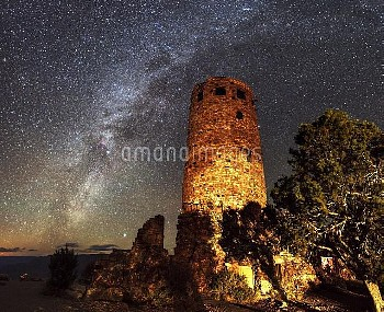 Milky Way over Grand Canyon watchtower