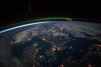 Scandinavia at night, ISS image