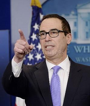 スティーブン・ムニューチン(Steven Mnuchin)=米長財務長官 Treasury secretary Steven Mnuchin speaks in the Press Briefing