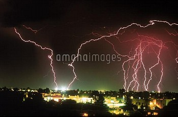 Cloud-to-Ground lightning during a summer storm in Tucson, Arizona.