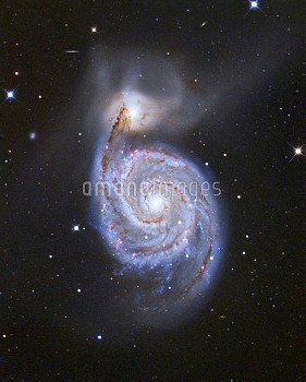 "View of the Whirlpool Galaxy, M51; and its smaller ""companion"" galaxy, M51b. Composite image made ov"