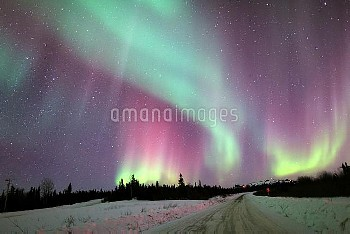 Aurora Borealis in the night sky over Alaska on March 21, 2014. Photographed with a Canon 5D MarkII