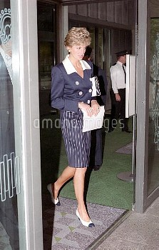NATIONAL PICTURES    Stock shot of Diana leaving an unknown building.   Date unknown.