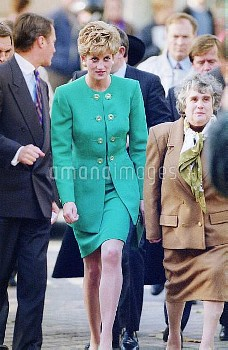 NATIONAL PICTURES   Stock shot of Diana with the public in a turquoise skirt and jacket.    Date unk