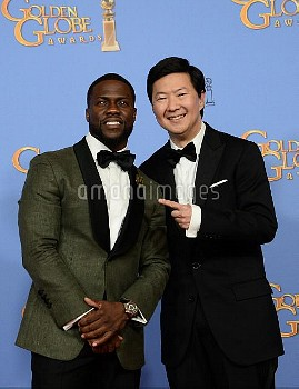 Kevin Hart and Ken Jeong appear backstage at the 73rd annual Golden Globe Awards in Beverly Hills