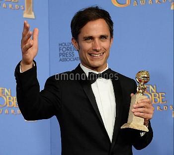 Gael Garcia Bernal wins an award at the 73rd annual Golden Globe Awards in Beverly Hills