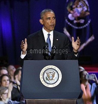 U.S. President Obama delivers farewell speech in Chicago