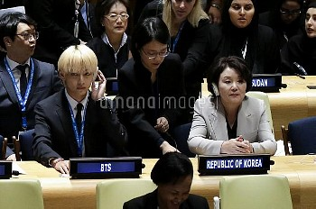 Korean K-Pop group BTS at the United Nations