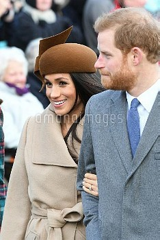 The Royal family at Sandringham on Christmas Day  Featuring: Prince Harry, Meghan Markle Where: Sand