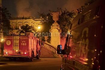 RIO DE JANEIRO, Sept. 3, 2018  Rescue vehicles stop outside the National Museum of Brazil in Rio de